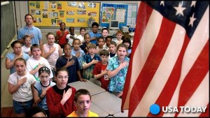 Students pledge in the classroom; Photo: USA TODAY